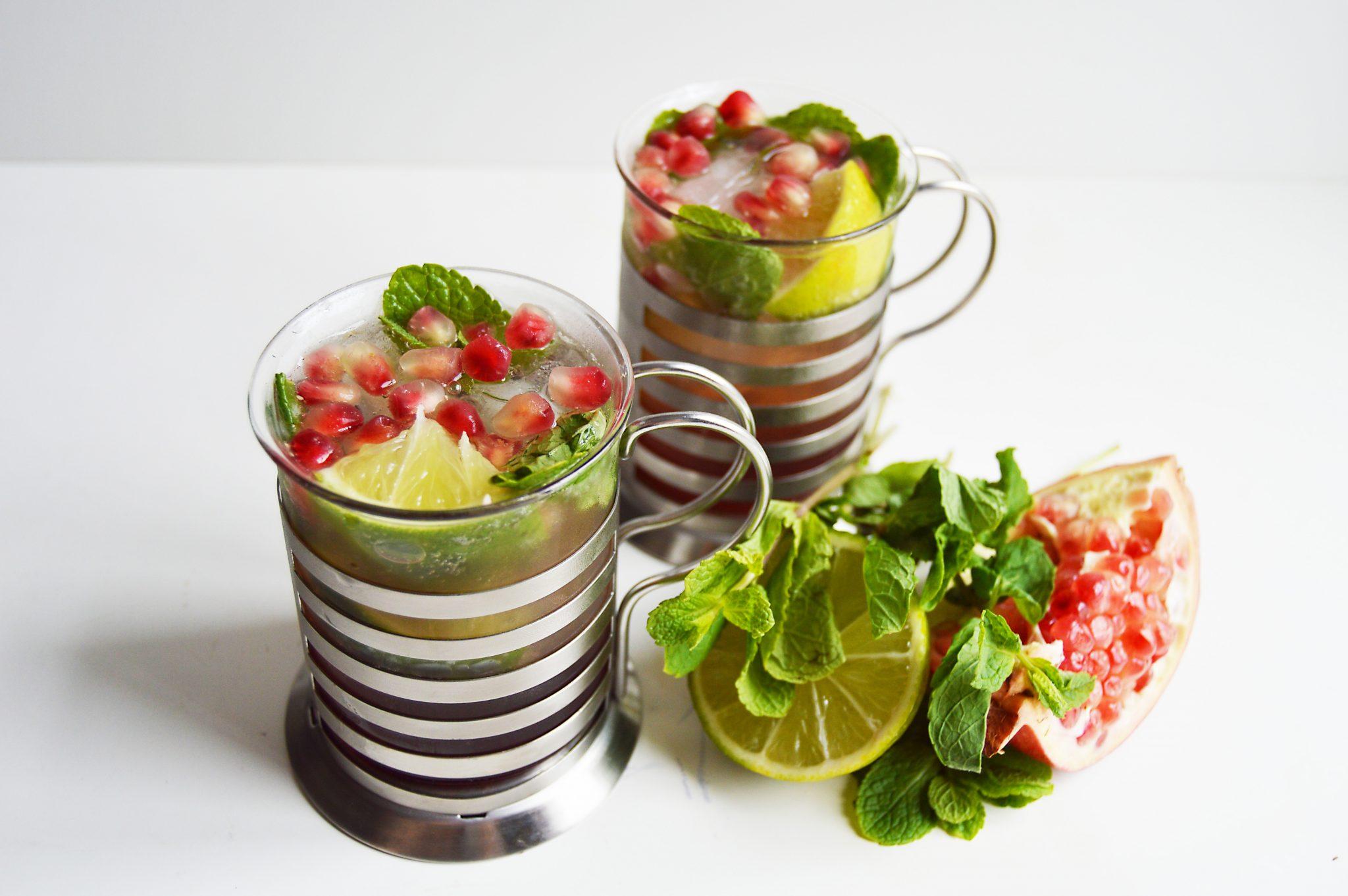 Pomegranate Lime & Mint Fizz Cocktail