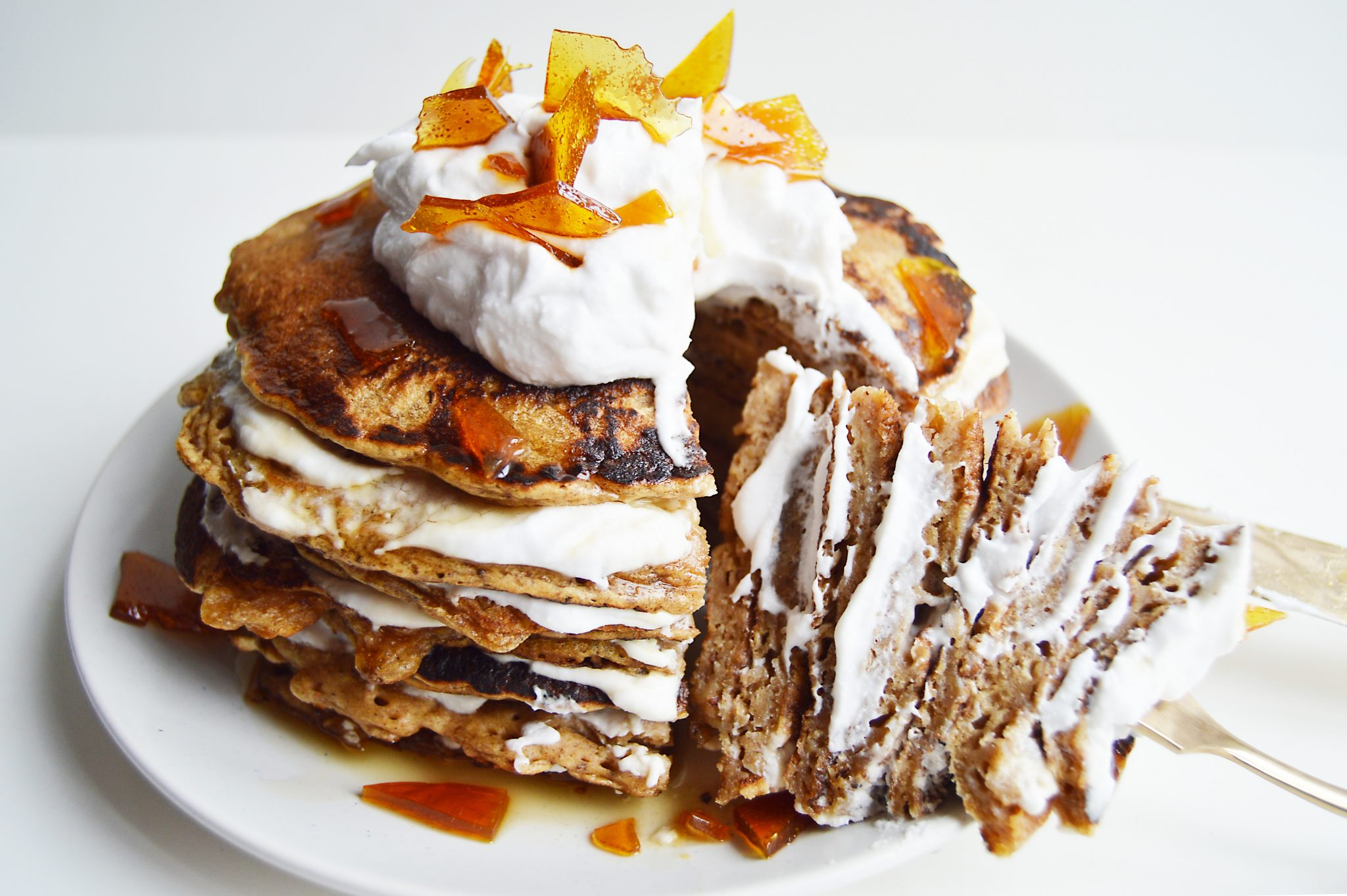 Vegan Gingerbread Pancakes with Coconut Whip & Salted Caramel Shards
