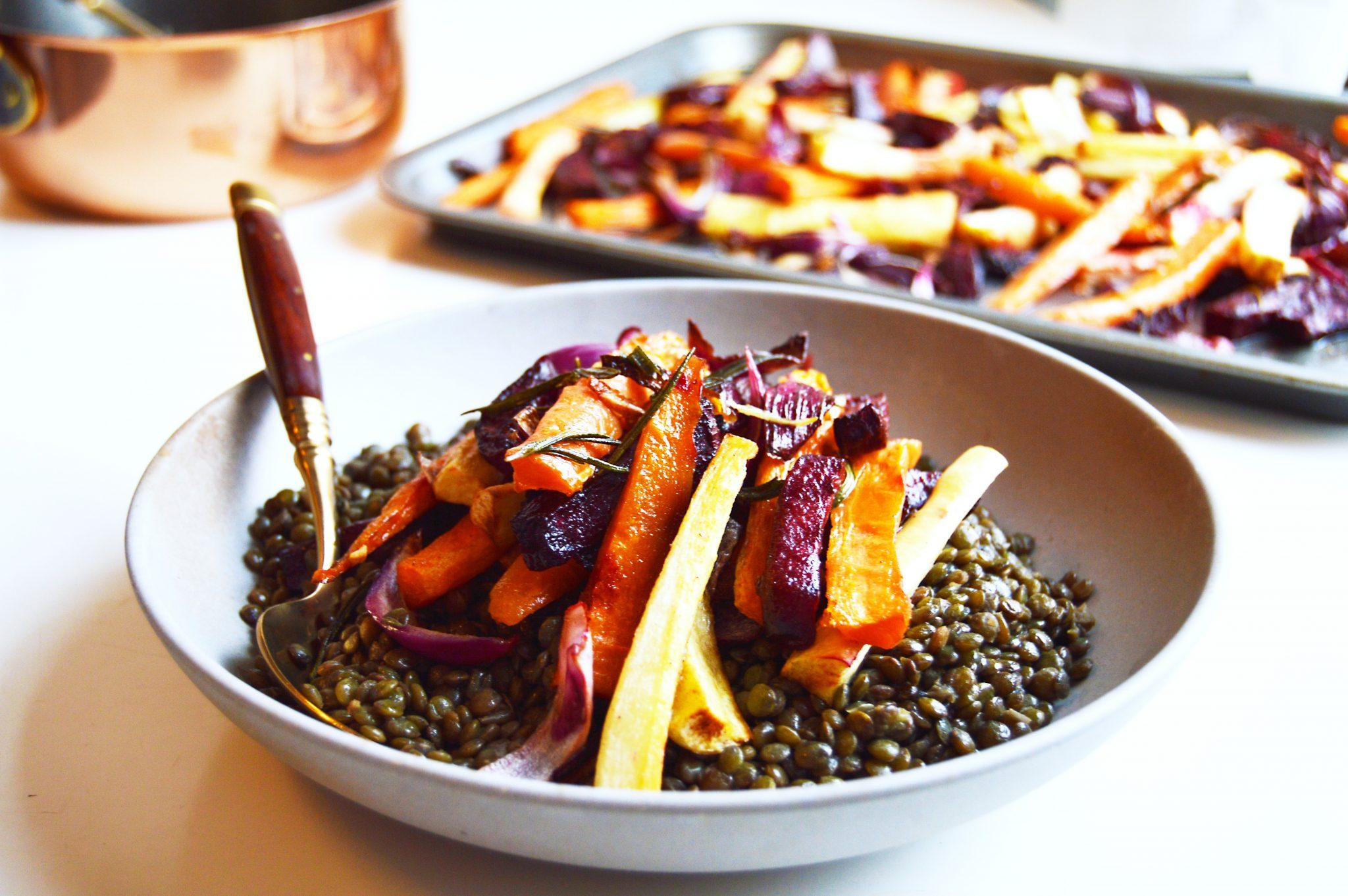 Vegan Colourful Root Vegetable Warm Lentil Salad