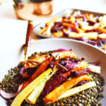Vegan Colourful Root Vegetable Warm Lentil Salad