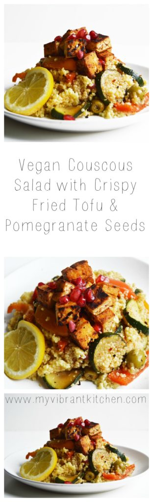 Vegan Couscous Salad with Crispy Fried Tofu and Pomegranate Seeds | www.thisvibrantworld.com