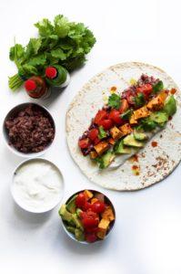 Vegan Spicy Fried Bean & Sweet Potato Burritos