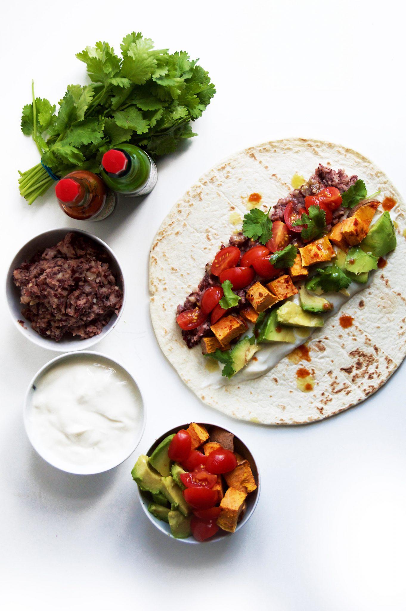 Vegan Spicy Fried Bean & Sweet Potato Burritos - My ...