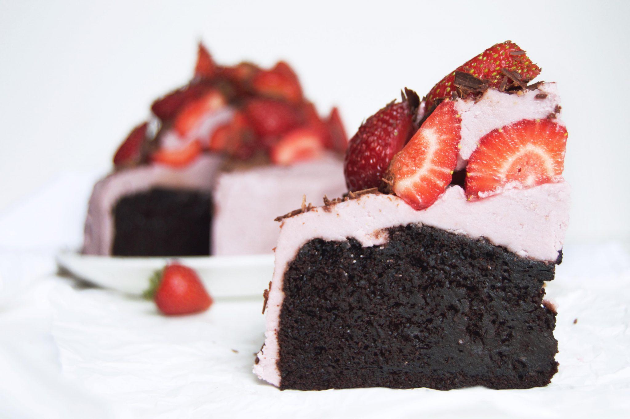 Vegan Strawberries Cream Fudge Chocolate Cake My Vibrant Kitchen