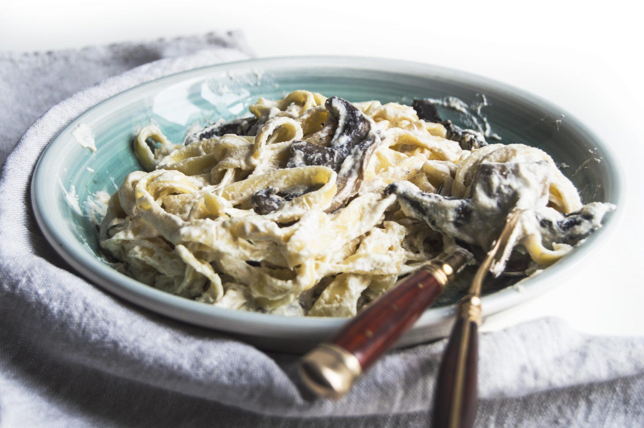 Vegan Rosmary Mushroom Tagliatelle with Cauliflower Cream