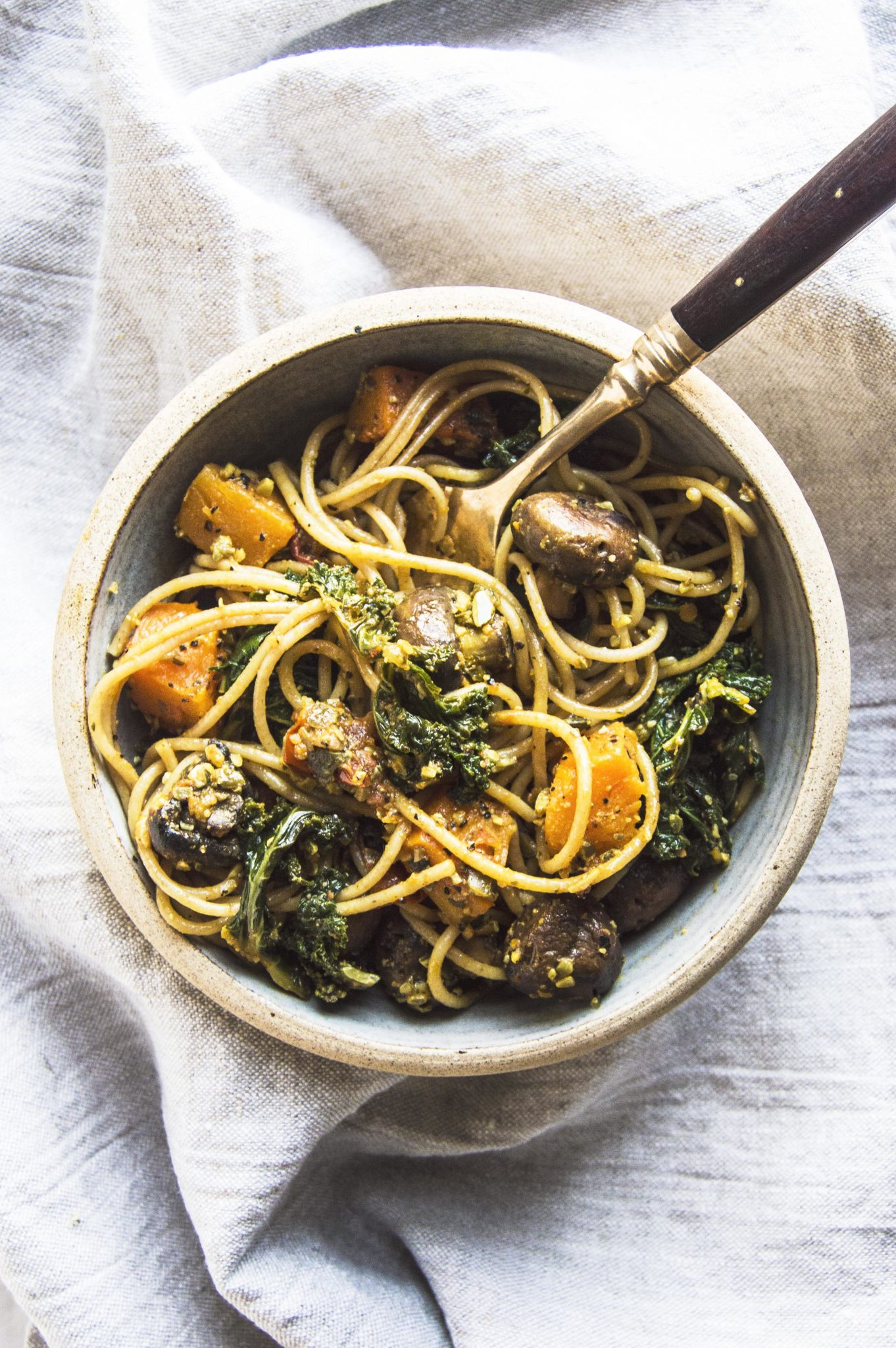 Vegan Winter Vegetable Pasta with Pumpkin Seed Pesto