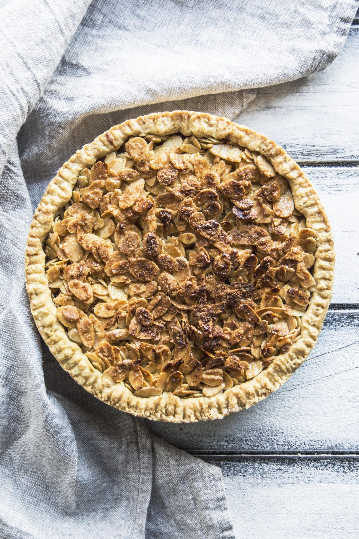 Vegan Pear Custard Pie With Caramelized Almond Crust