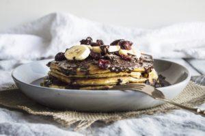 Vegan Banana Pancakes With Chocolate Hazelnut Cream