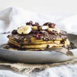Vegan Banana Pancakes With Chocolate Hazelnut Sauce