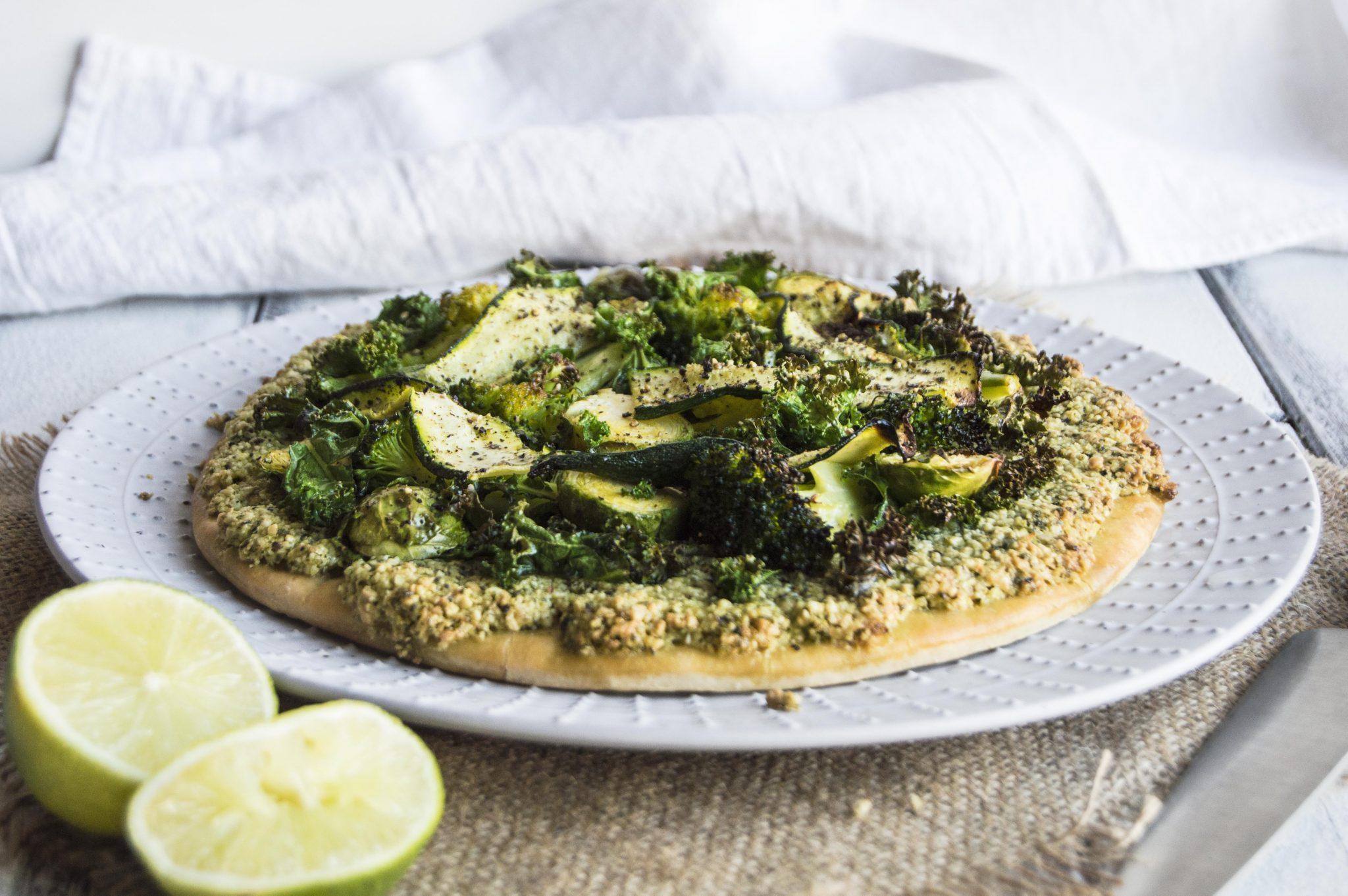 Vegan Pesto Pizza with Green Winter Vegetables