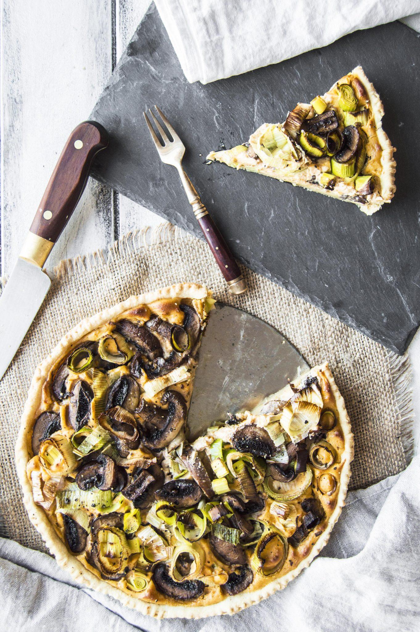 Vegan Mushroom Leek & Sweet Potato Tart