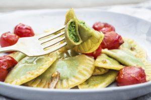 Homemade Vegan Spinach Pine Nut Cream Ravioli