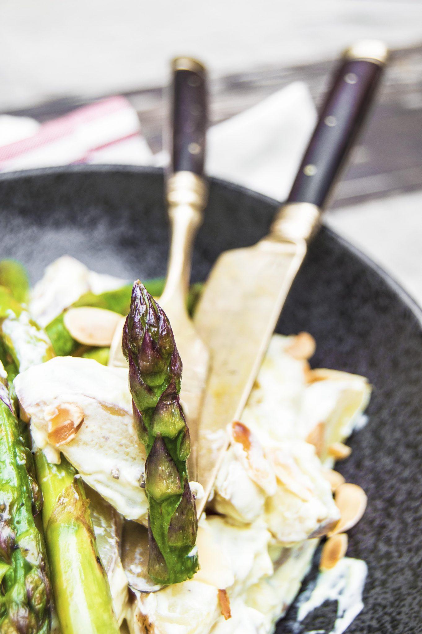 Vegan Creamy Potato Salad With Sautéed Lemon Asparagus