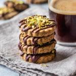 Vegan Chai Spiced Shortbread With Chocolate Ganache & Salted Pistachios