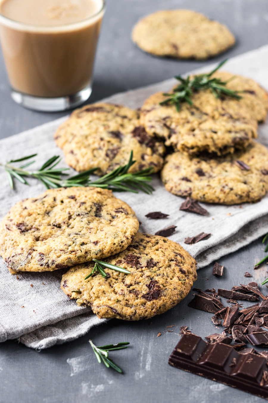 Vegan Salted Chocolate Chip Rosemary Cookies