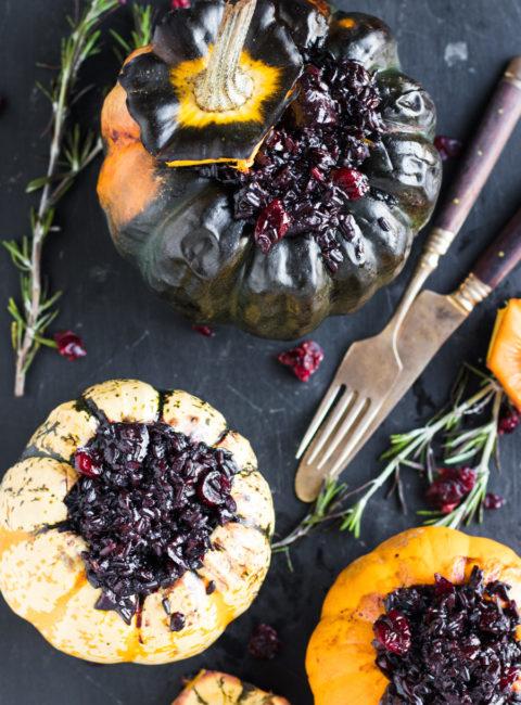 Vegan Festive Black Risotto Stuffed Pumpkins