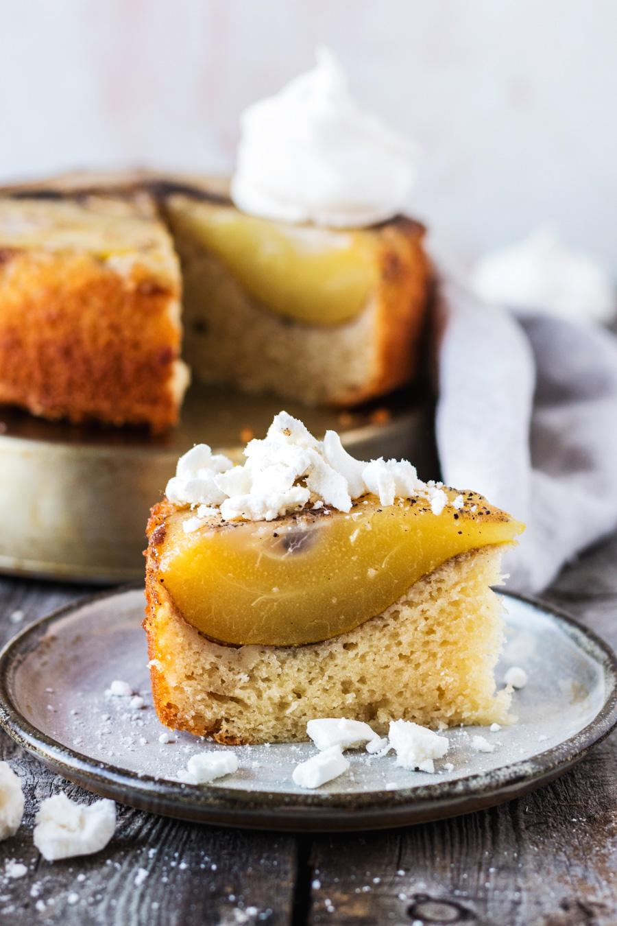 Vegan Cardamom Pear Upside-Down Cake