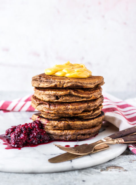 Vegan Chai Spice Pancakes With Whipped Maple Butter