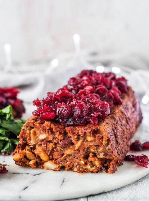 Vegan Red Lentil Nut Roast With Hot Cranberries