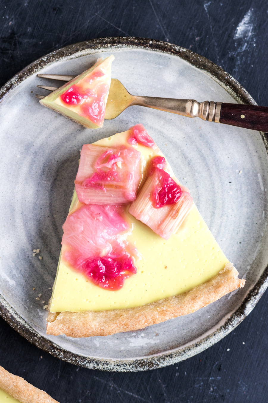 Vegan Rhubarb Custard Tart