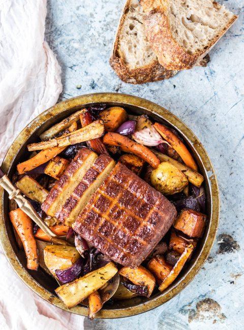 Super Easy One Pan Vegan Sunday Roast