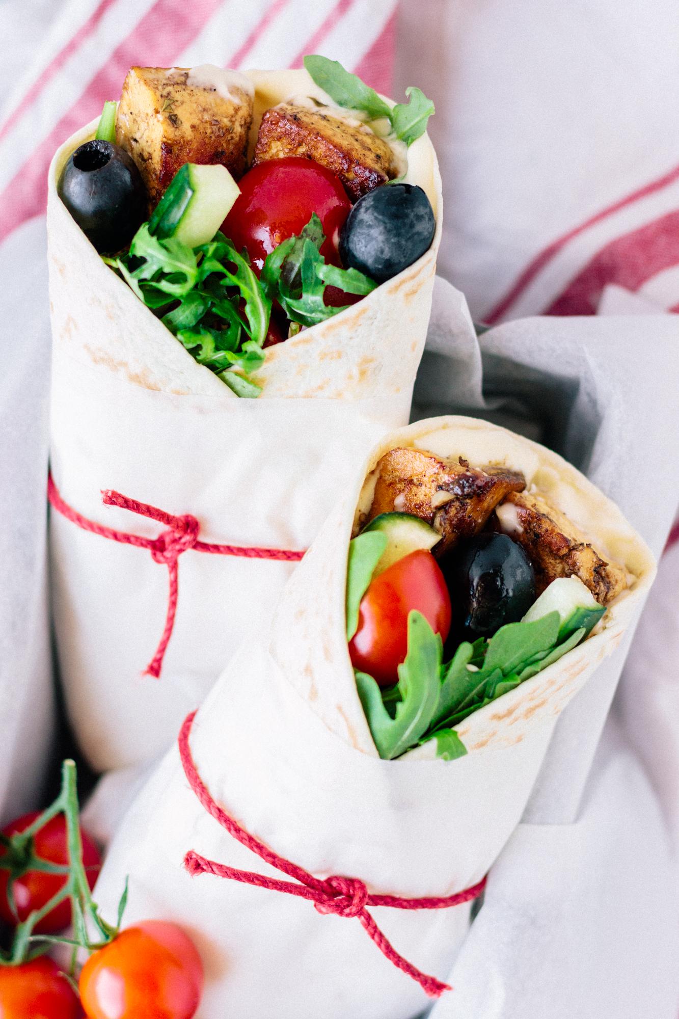 Vegan Mediterranean Grilled Tofu Wraps