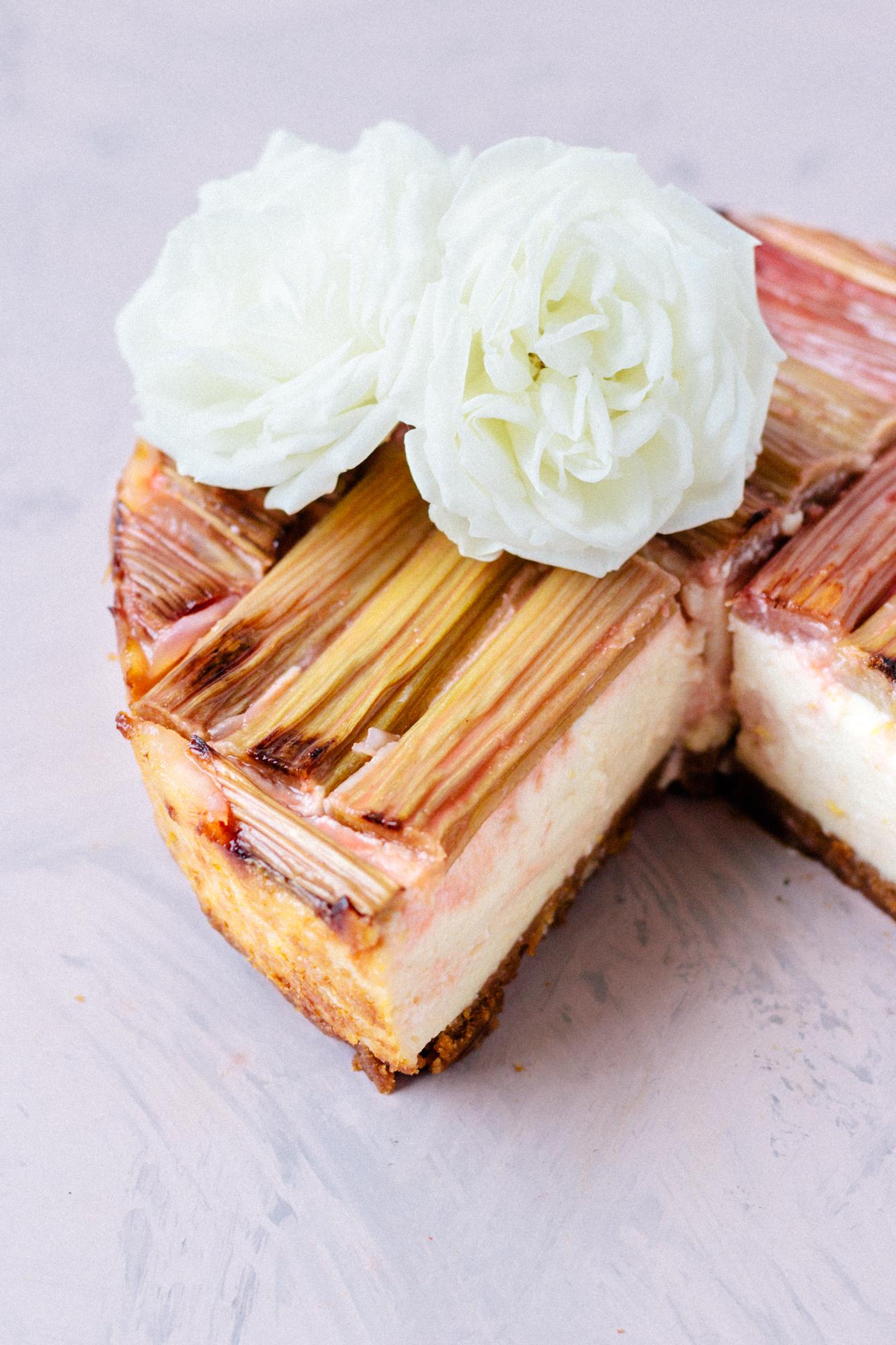Vegan Baked Rhubarb Cheesecake (nut free & high in protein)