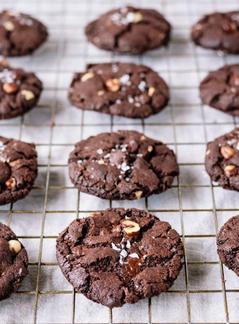 Vegan Salted Double Chocolate Hazelnut Cookies