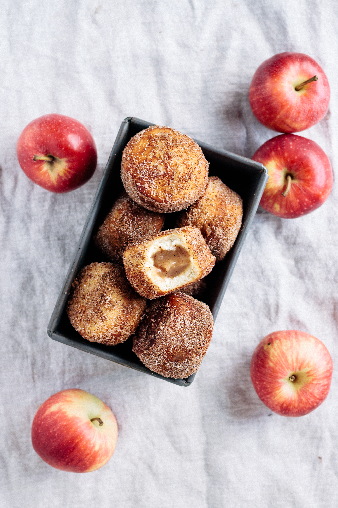 Vegan Apple Butter Filled Cinnamon Sugar Donuts