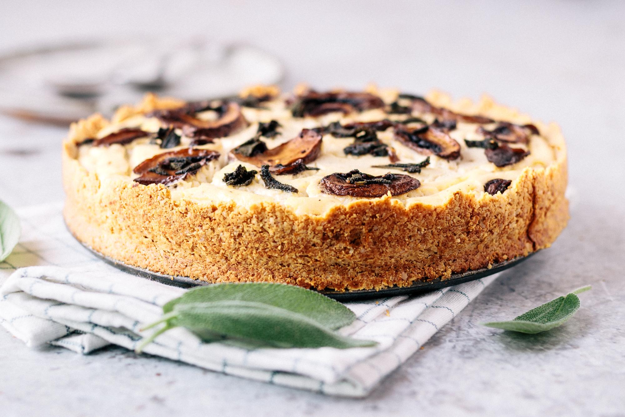 Vegan Creamy Mushroom Sage Tart In Almond Crust