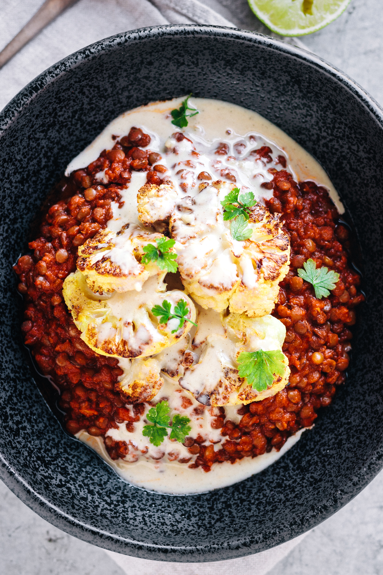 Vegan Mexican Spiced Lentils With Roasted Cauliflower And Tahini Drizzle