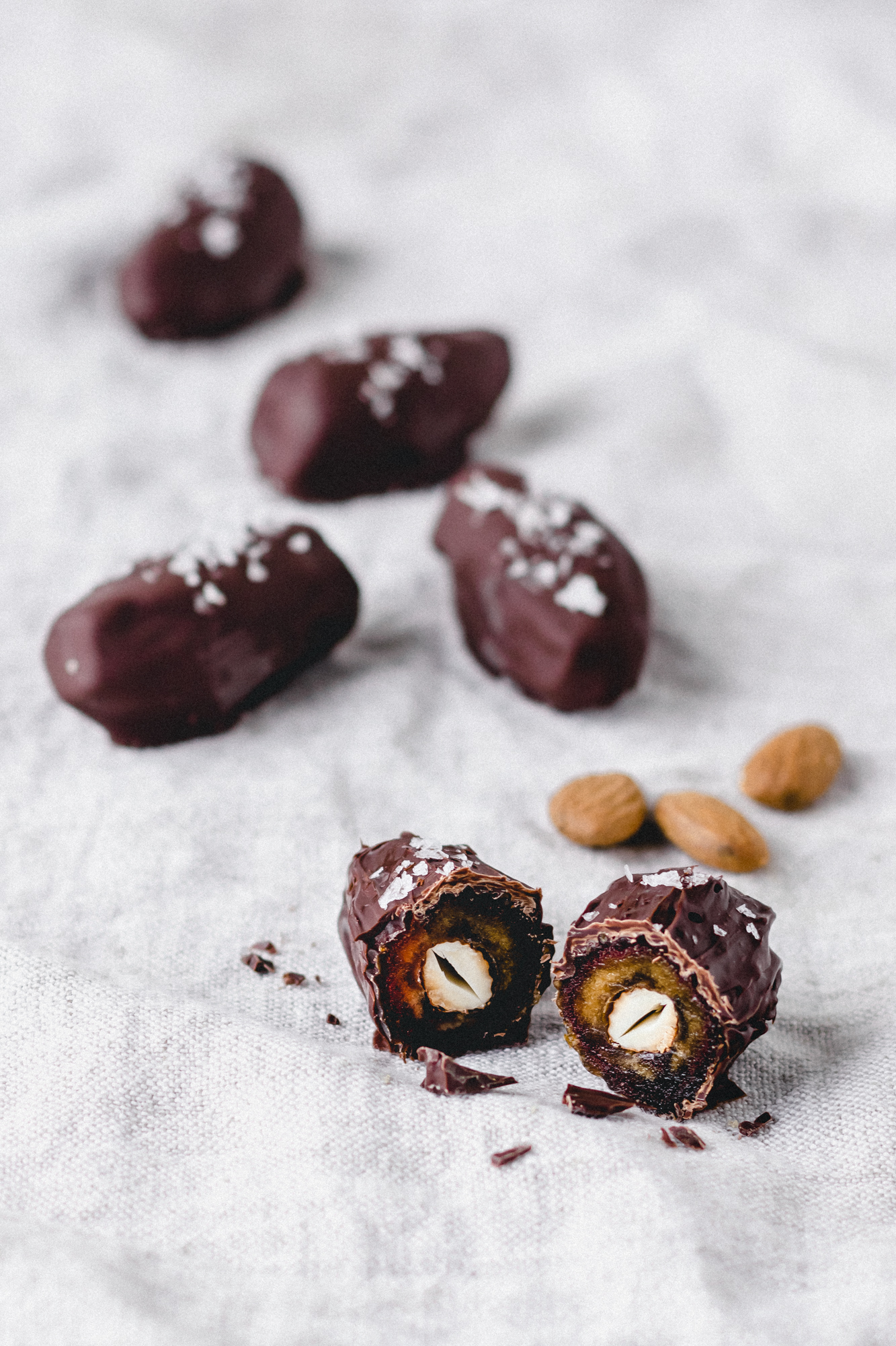 Vegan Salted Dark Chocolate Dates Stuffed With Almonds