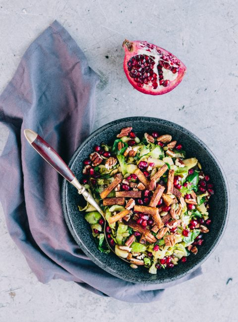Festive Warm Shredded Brussels Sprouts Salad With Tofu Bacon